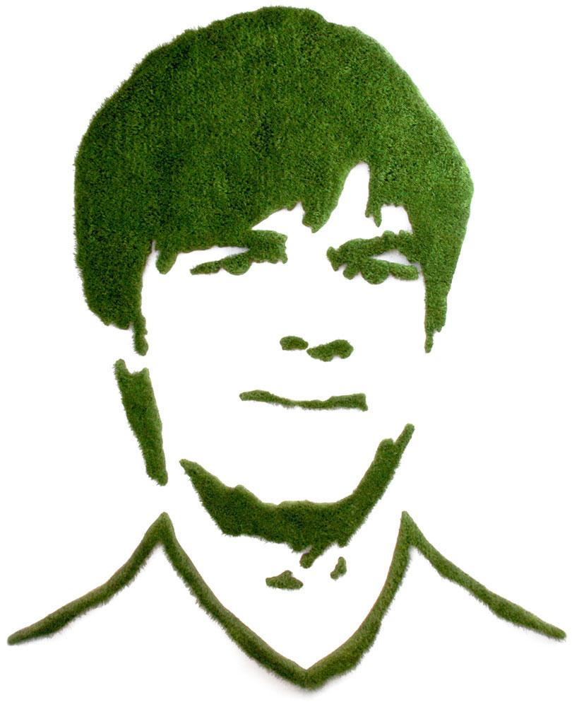 Portrait aus dem Naturmaterial Gras