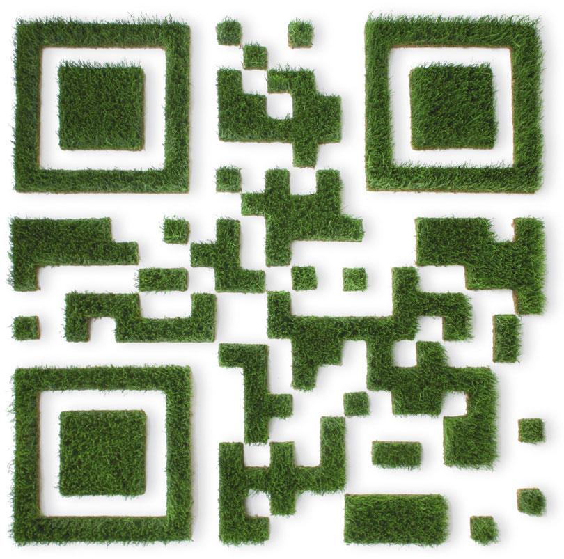 Qr-Code aus konserviertem Gras