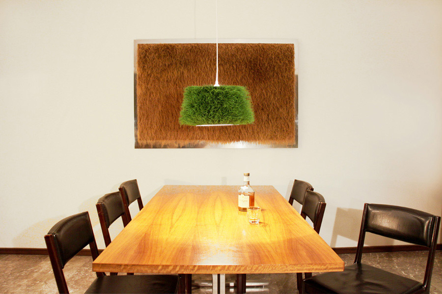 Special grass lamp hanging over dining table
