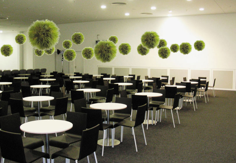 Grass ball installation in conference room