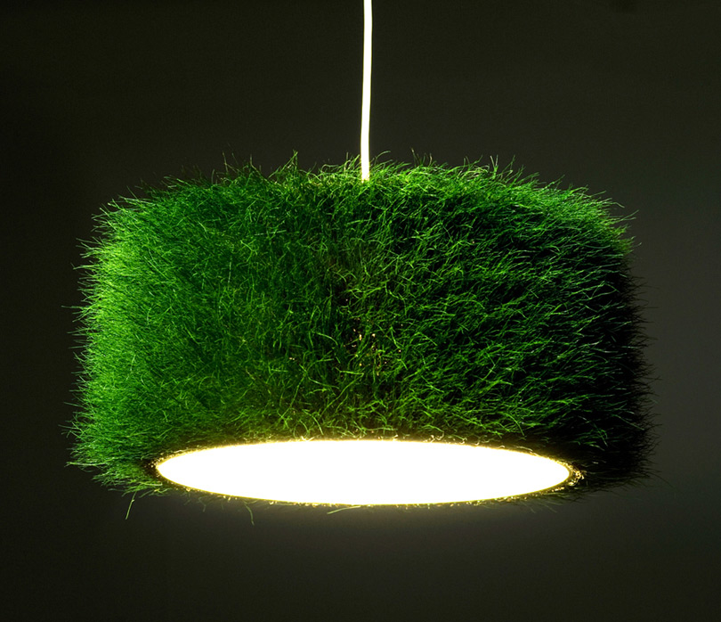 Lampshade out of real grass