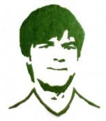 Portrait Jogi Löw aus Gras von grassland