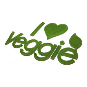 Logo I love Veggie aus Gras