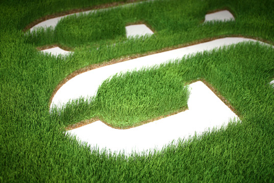 Grass logo used as a green wall