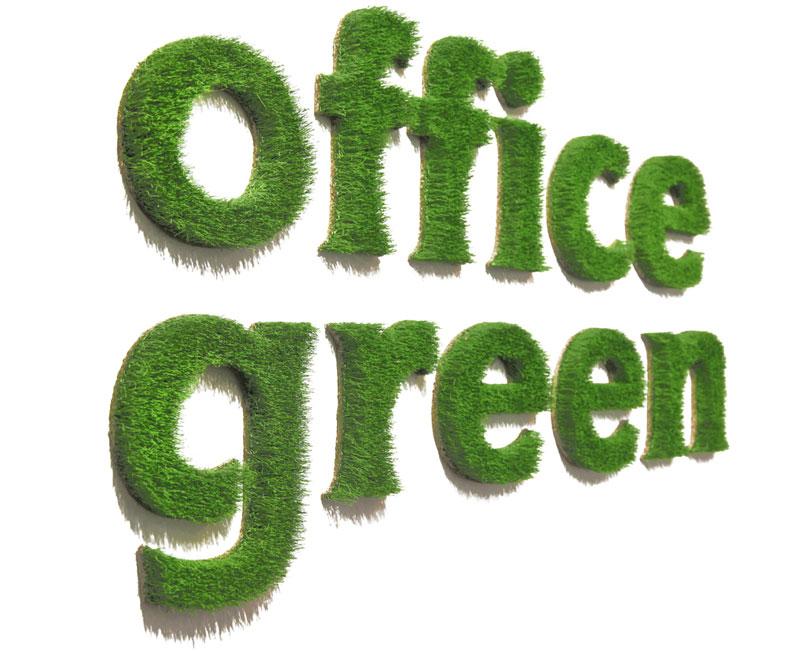 """Schriftzug """"Office green"""" grünes Büro"""