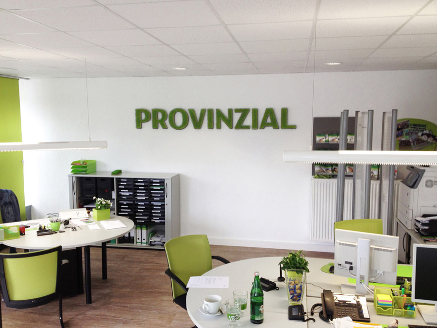 Shop lettering with Provinzial logo
