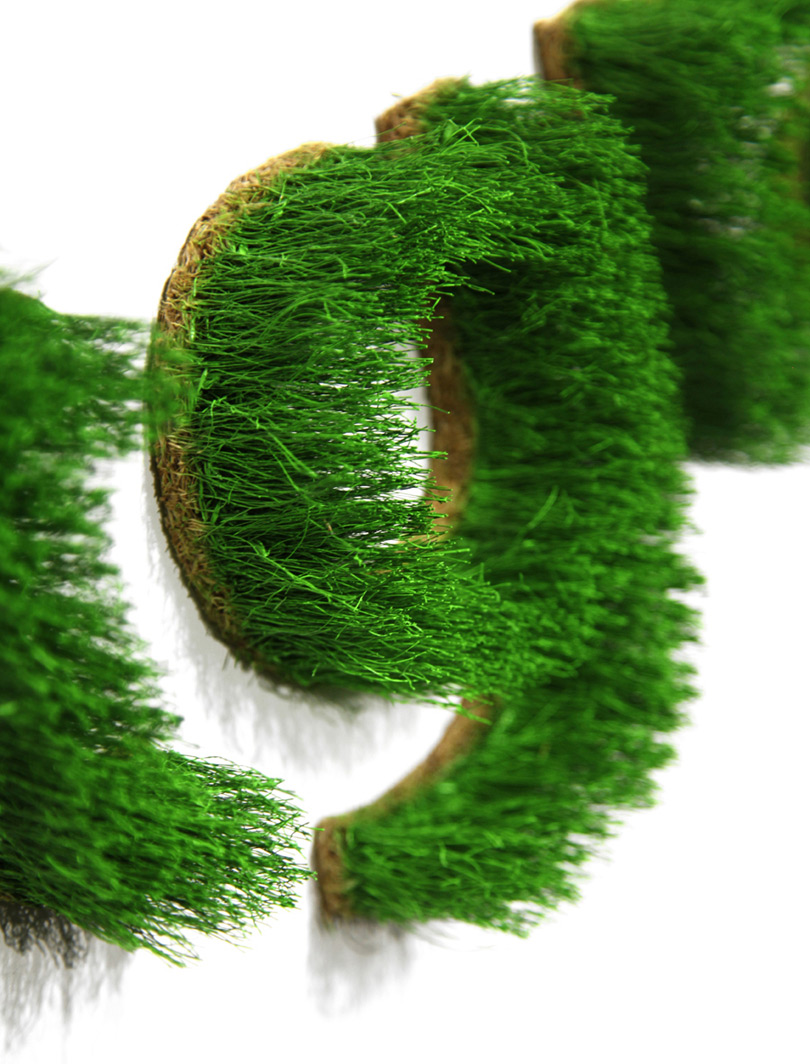 Wall letter out of real grass