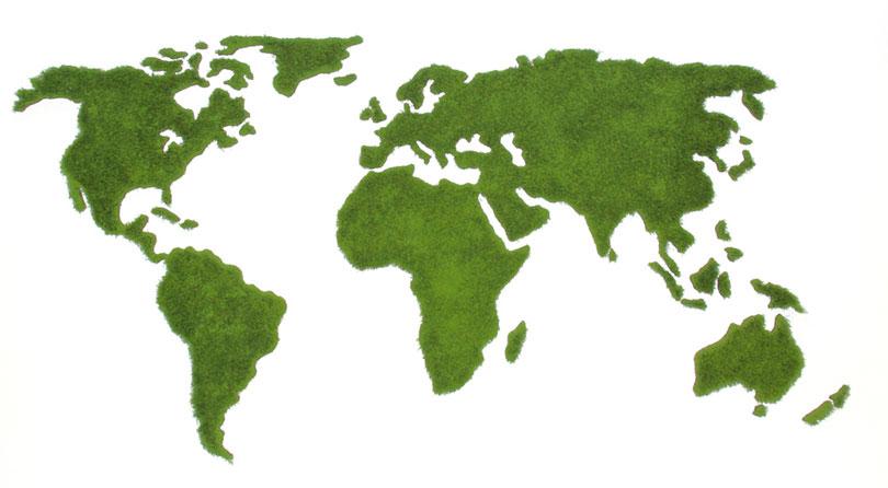 Weltkarte aus Gras als pflege- und wartungsfreie Wandbegrünung